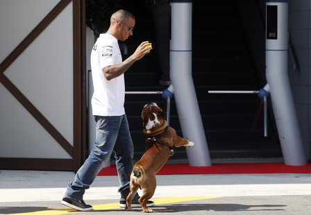 Mercedes Formula One driver Lewis Hamilton of Britain plays with his pet dog Roscoe in the paddock Formula One racetrack in Monza September