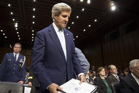 John Kerry, U.S. Secretary of State, arrives to present the administration's case for U.S. military action against Syria to a Senate Foreign