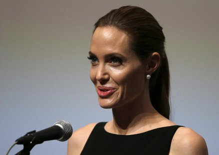 "Special envoy of United Nations High Commissioner for Refugees (UNHCR) and movie director Angelina Jolie gives a speech on ""Preventing Sexua"