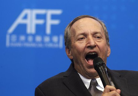 U.S. economist and Harvard University professor Lawrence Summers speaks during a luncheon at the Asian Financial Forum in Hong Kong January