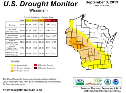 Wisconsin Drought Monitor as of September 3, 2013.