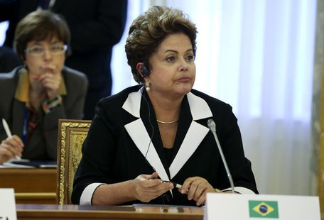 Brazil's President Dilma Rousseff attends the first working session of the G20 Summit in Constantine Palace in Strelna near St. Petersburg,