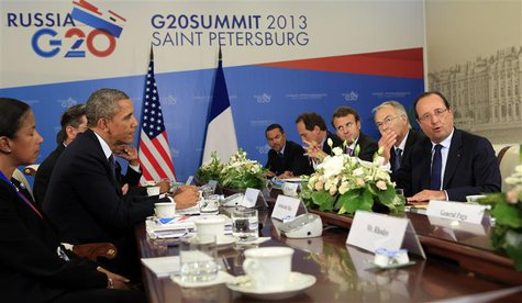 U.S. President Barack Obama meets with French President Francois Hollande at the G20 Summit in St. Petersburg, Russia September 6, 2013. REU