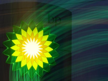 BP logo is seen at a fuel station of British oil company BP in St. Petersburg, October 18, 2012. REUTERS/Alexander Demianchuk