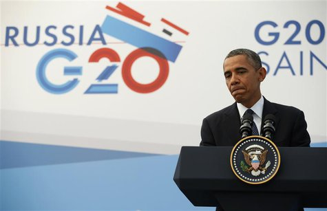 U.S. President Barack Obama speaks during a news conference at the G20 Summit in St. Petersburg September 6, 2013. Obama defied pressure to