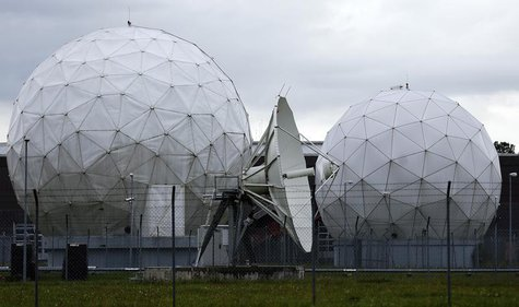 A satellite dish is seen in the former monitoring base of the National Security Agency (NSA) in Bad Aibling, south of Munich, August 13, 201