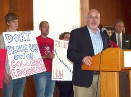 Rep. Mark Pocan at a college debt rally in Madison (Photo: Wisconsin Radio Network)
