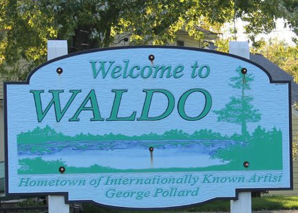 Village of Waldo sign