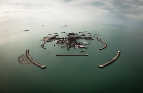 An aerial view shows artificial islands on Kashagan offshore oil field in the Caspian sea, western Kazakhstan, April 7, 2013. Picture taken