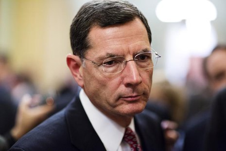 Senator John Barrasso (R-WY) speaks to the media after the Republican policy luncheon on Capitol Hill in Washington December 18, 2012. REUTE