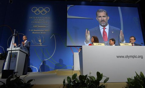 Prince Felipe of Spain speaks during the presentation by the Madrid 2020 bid committee to host the 2020 Summer Olympic Games, in Buenos Aire