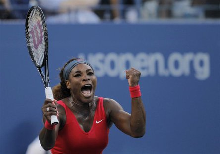 Serena Williams of the U.S. celebrates after defeating Li Na of China at the U.S. Open tennis championships in New York September 6, 2013. R