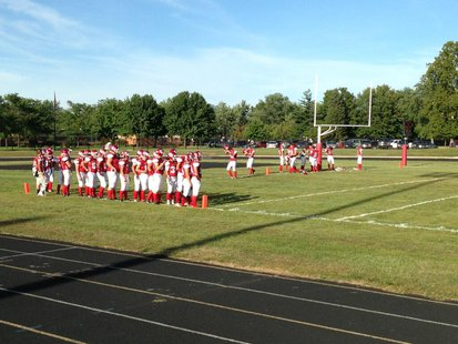 Coldwater prepares to take the field before their game against Portage Northern on September 6, 2013.