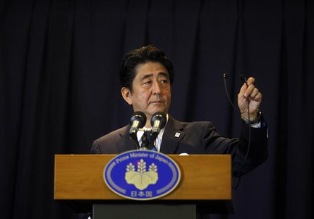 Japan's Prime Minister Shinzo Abe addresses a news conference after Tokyo was selected as the city to host the 2020 Summer Olympic Games in