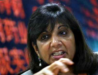Kiran Mazumdar-Shaw, chairman and managing director of Biocon Ltd, speaks during the Reuters India Investment Summit in Bangalore in this De