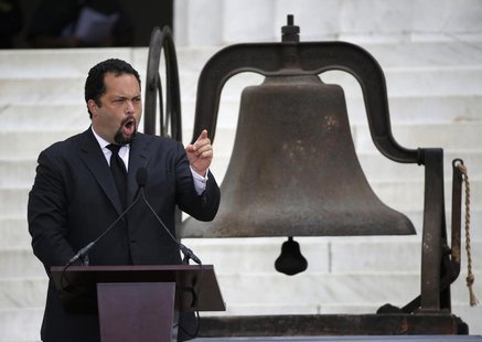 "Benjamin Jealous, president and CEO of NAACP, speaks during a ceremony marking the 50th anniversary of Martin Luther King's ""I have a dream"""