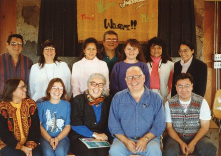 Authors attending the first gathering of the Oak Lake Writers' Society gathering at the Oak Lake field station in 1993 are, front row, from left, Elizabeth Little Elk, Vi Waln, Elizabeth Cook-Lynn, N. Scott Momaday and Darren Renville. Back row, Elden Lawrence, Joyzelle Godfrey, Alicia Boyd, Jerome Kills Small, Sammie Bordeaux, Lydia Whirlwind Soldier and Lanniko Lee. (SDSU.edu)