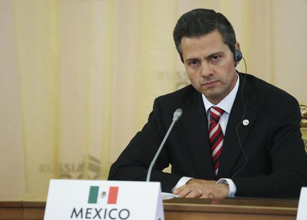 Mexico's President Enrique Pena Nieto attends the first working session of the G20 Summit in Constantine Palace in Strelna near St. Petersbu