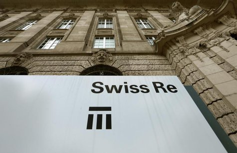 The logo of the world's second biggest reinsurer Swiss Re is seen in front of the company's headquarters in Zurich July 8, 2013. REUTERS/Arn