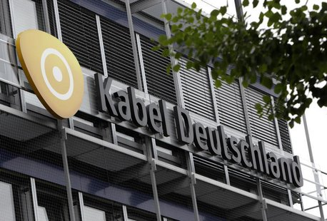 The logo of German cable television group Kabel Deutschland is pictured on the company's headquarters in Unterfoehring north of Munich June