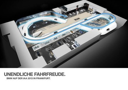 The overview of BMW area at the biennial Frankfurt motor show is seen in an undated computer rendered handout picture obtained by Reuters on