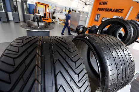 Various Michelin tyres are displayed at the entrance of the Michelin tyre company's factory in Clermont-Ferrand, central France, July 10, 20