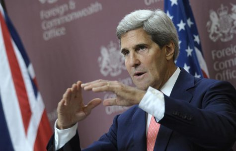 U.S. Secretary of State John Kerry speaks during a news conference with Britain's Foreign Minister William Hague at the Foreign and Commonwe