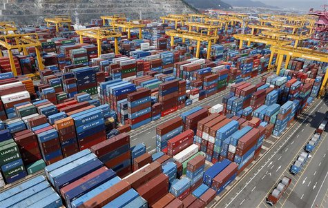 Hanjin Shipping's container terminal is seen at the Busan New Port in Busan, about 420 km (261 miles) southeast of Seoul August 8, 2013. REU