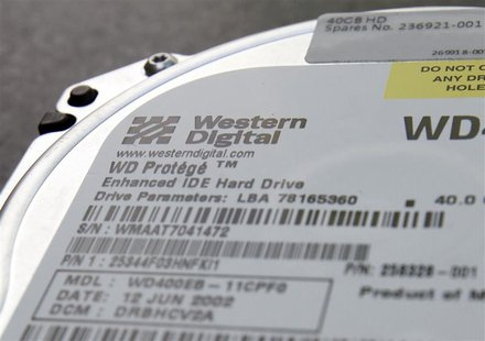 A Western Digital Corp's hard drive is seen at an electric appliance store in Tokyo, in this picture illustration taken March 8, 2011. REUTE