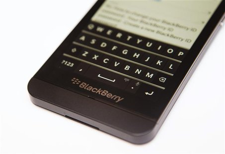 A view shows the keyboard of the Blackberry Z10 at a Rogers store in Toronto February 5, 2013. REUTERS/Mark Blinch