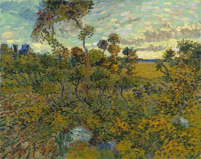 "A painting titled ""Sunset at Montmajour"" is seen in this handout photo received from The Van Gogh Museum in Amsterdam on September 9, 2013."