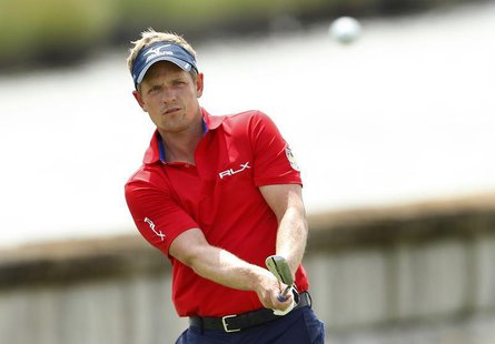England's Luke Donald chips on to the 18th green during the second round of the Barclays PGA golf tournament in Jersey City, New Jersey Augu