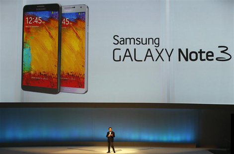 Shin Jong-kyun, President and CEO, head of IT and Mobile Communication division of Samsung presents the Samsung Galaxy Note 3 during its lau