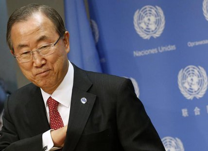 United Nations Secretary-General Ban Ki-moon speaks during a news conference at the United Nations Headquarters in New York September 3, 201