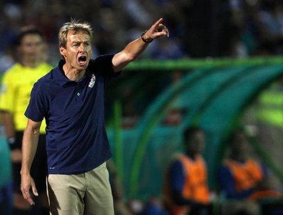 U.S. coach Jurgen Klinsmann reacts during their international friendly soccer match against Bosnia in Sarajevo August 14, 2013. REUTERS/Dado