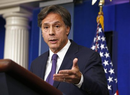 U.S. Deputy National Security Advisor Tony Blinken speaks on Syria at the White House in Washington, September 9, 2013. REUTERS/Kevin Lamarq