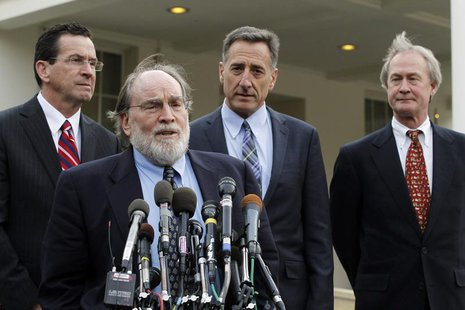 Newly elected Hawaii Governor Neil Abercrombie speaks to the media alongside other Governors-elect outside the West Wing of the White House