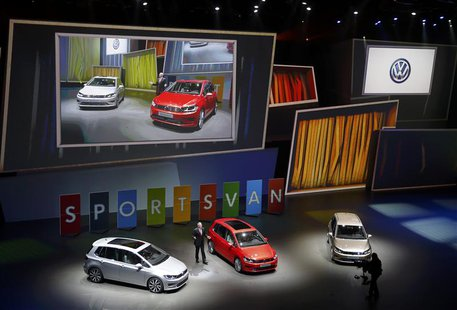 "Hans-Jakob Neusser, Chief developer of Volkswagen AG presents the new ""Sports Van"" during the Volkswagen group night at the Frankfurt motor"