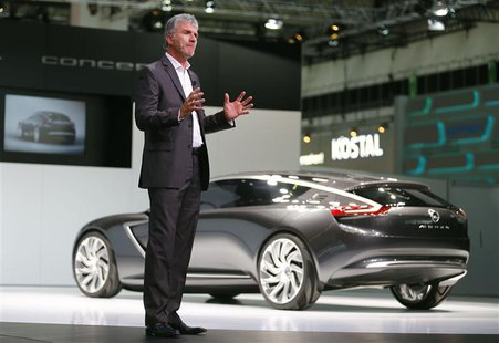 Mark Adams, Vice President, Opel/Vauxhall Design, presents the new Opel Monza concept car during a media preview day at the Frankfurt Motor