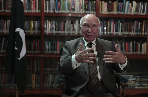 Sartaj Aziz, Pakistani Prime Minister Nawaz Sharif's adviser on foreign affairs, speaks during an interview with Reuters in Islamabad Septem
