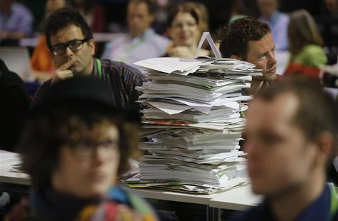 File photo of congress documents piled up during a party congress of Germany's environmental party Die Gruenen (The Greens), in Berlin, Apri