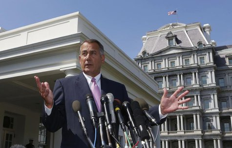Speaker of the House John Boehner speaks to the press after meeting with U.S. President Obama and bipartisan Congressional leaders in the Ca