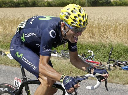 Movistar team rider Alejandro Valverde of Spain cycles during the 173 km thirteenth stage of the centenary Tour de France cycling race from