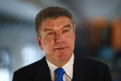 German Olympic Sports Confederation (Deutscher Olympischer Sportbund, DOSB) President Thomas Bach smiles during a Reuters interview in Berli