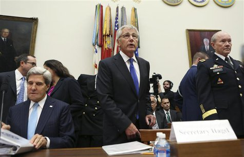 U.S. Secretary of State John Kerry (L), Defense Secretary Chuck Hagel (C) and Chairman of the Joint Chiefs of Staff U.S. Army General Martin