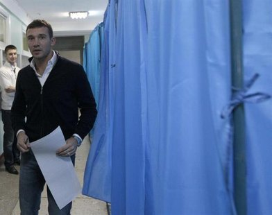 "Andriy Shevchenko, a former soccer player and member of ""Ukraine Forward"" social democratic party, visits a polling station during the parli"