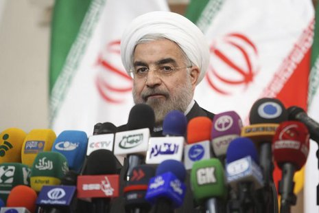 Iranian President-elect Hassan Rohani speaks with the media during a news conference in Tehran June 17, 2013. REUTERS/Fars News/Majid Hagdos