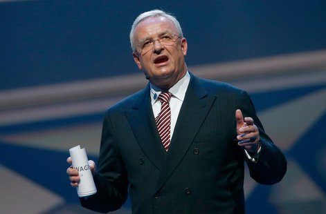 Volkswagen CEO, Martin Winterkorn speaks during the Volkswagen group night at the Frankfurt motor show September 9, 2013. REUTERS/Ralph Orlo