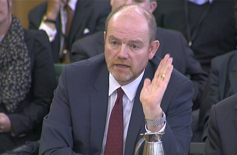 Former director general of the BBC, Mark Thompson is seen attending a Public Accounts Committee (PAC) hearing at Parliament, in this still i