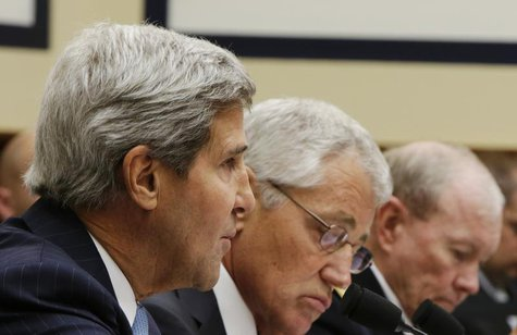 U.S. Secretary of State John Kerry (L-R), Defense Secretary Chuck Hagel and Chairman of the Joint Chiefs of Staff U.S. Army General Martin D